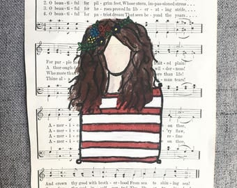 Hand Painted Hymnal Girl
