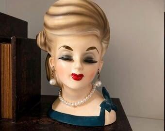 Vintage Lady Head Vase/Headvase/Audrey Hepburn/Lady Planter/Parma/Japan