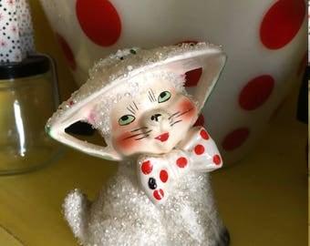 Ceramic Cat Figurine/Spaghetti Sugar Texture/Mid Century Kitty/Japan