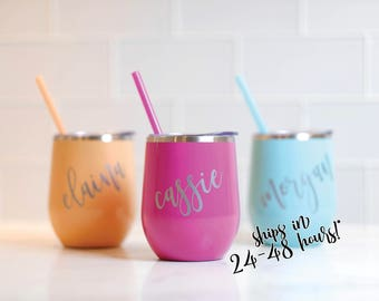 Stainless Steel Wine Tumbler Bridesmaid Gift   Similar to Swig Wine Tumbler   Bachelorette Gift   Personalized Monogrammed Tumbler With Lid
