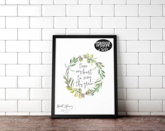 Tune My Heart To Sing Thy Grace | Come Thou Fount | Watercolor Floral Wreath | Hymn Wall Art | Christian Printable | Downloadable Prints