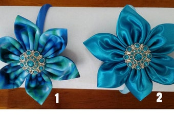 Handmade headbands gorgeous blue tones bling