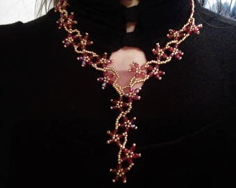 Red and gold beads necklace