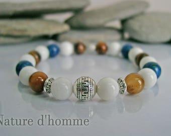 Bracelet white jade stones, yellow Tiger eye and lapis lazuli Ref: BN-243
