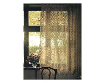 Filet Lace Curtain - Crochet Pattern - Sheer Airy Lace for Windows or Doorways