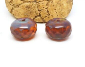 2 beads Czech glass Rose Opal 14 * 8mm faceted (PMP01) pumpkin shape