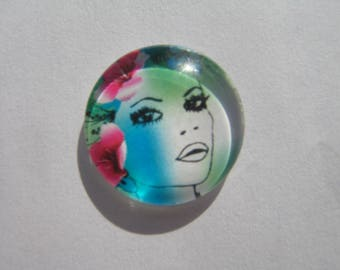 Glass cabochon round 20 mm with woman face image