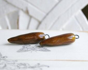 Pearl drops, ceramic, amber, 2 X