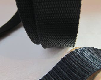 30 mm black polypropylene webbing