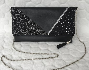 Bag shoulder bag with faux silver chain/black leather flap