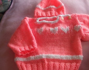 Sweater and hat baby neon pink with raised jacquard birthstone heart design has 6 months knitting F83406 hand-made