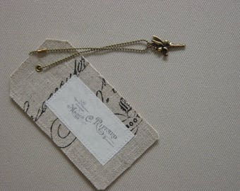 Large label printed linen, decoration, gift package embellishment
