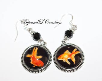 Cabochon goldfish with 925 sterling silver hook earrings