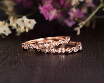 Rose Gold Wedding Band Set Women Diamond Antique Stacking Wedding Rings Art DecoHalf Eternity Retro Anniversary Promise Engraving Milgrain