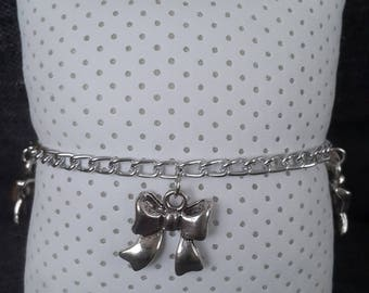 Chain bracelet with Silver Bow charms