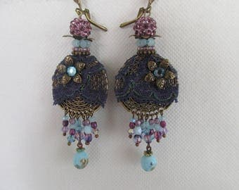 "Earrings ""Hawthorn"" shades of purple and blue with a lace covered round connector"