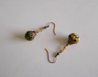 Earrings in yellow and green African fabric