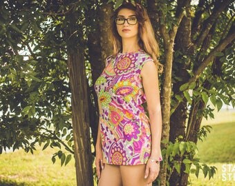 Vintage Flutterbye Neon Paisley Psychedelic Mini Dress / 1960's / Hippie / Woodstock / Miniskirt / Halloween / Go-Go