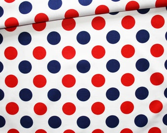 Blue white red dots, 100% cotton fabric printed 50 x 160 cm, red and blue polka dots pattern