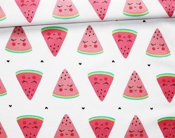 Tissu pastèque, 100% coton imprimé 50 x 160 cm, pastèque sur fond blanc