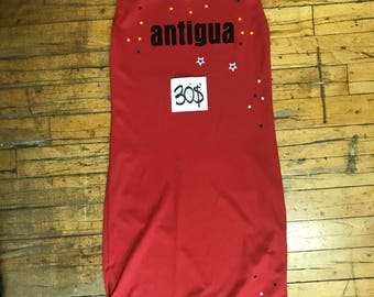 Red Girls' fitted V-neck style with Antigua text