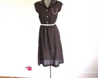 S 70s Swiss Dot Brown White Piping Secretary Dress by Jerrell Shirt Shirtwaist Small