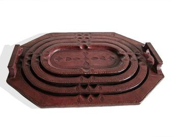 Touareg Set of 4 Leather Trays