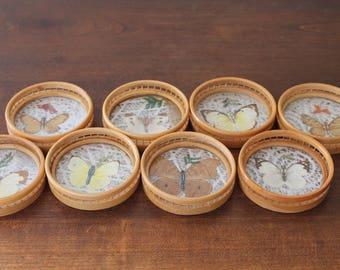Set of 8 vintage glass coasters