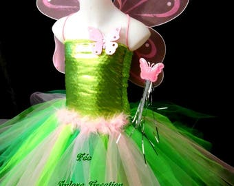 Costume, tutu dress in tulle, fairy, green and pink butterfly