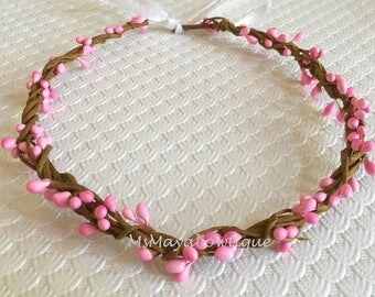 Pink flower headband, flower girl headband, rustic wedding, flower headband, flower girl headband, bridesmaids flower crown, floral wreath