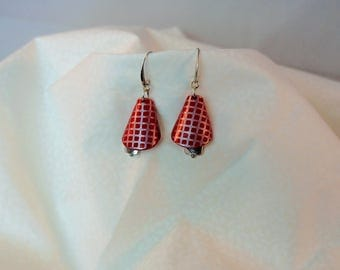Earrings red Cone, silver grid, metal, gift, women earrings, Tibetan bead, 3d Red