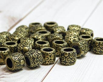 16pcs - 8x7mm - Large Hole Beads - Antique Bronze Beads - Barrel Beads - Metal Beads - Spacer Beads - Pewter Beads - (4674)