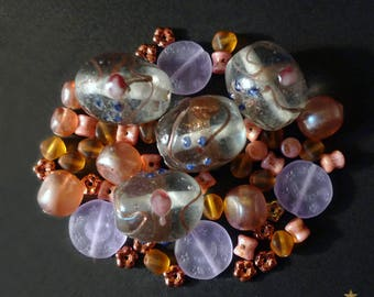 Czech glass and copper, pink and transparent Venetian 52 beads