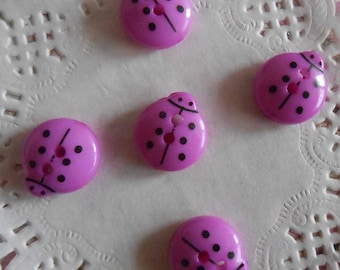 Purple acrylic 2 ladybugs buttons holes of 1.30 cm in diameter (with 5 buttons)