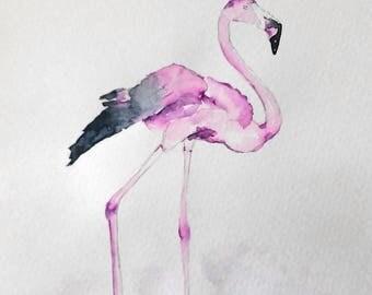 Original Flamingo watercolor / / bird watercolor