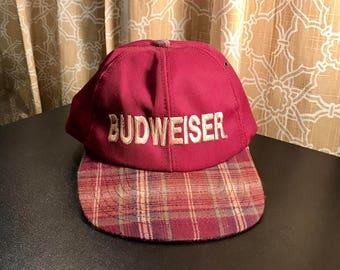 Vintage Budweiser plaid hat