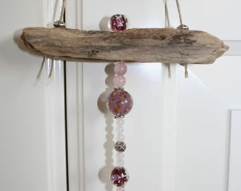 Driftwood door decoration and glass beads