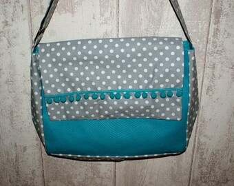 blue grey Messenger bag