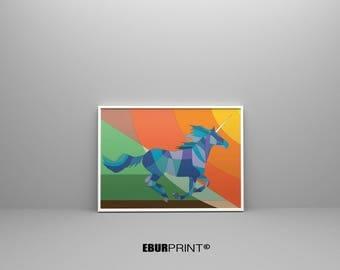 Horse illustration, Animal art, Running horse art, Horse art, Horse print, Geometric horse, Horse themed decor, Horse painting, Equestrian