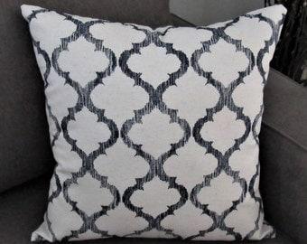 Navy Blue and Natural Quatrefoil Pillow Cover | Throw Pillows | 16 x 16 | Decorative Pillows | Pillows Covers | Living Room | Home Decor