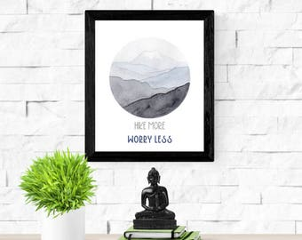 Hike More Worry Less | Watercolor Mountain Print | Gift for Explorer | Wanderlust | Blue Ridge Mountains | Gift for Him | Hiking