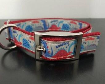 "1"" Gray Dinos Dog Collar"