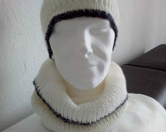 Hat and SNOOD Unisex (can fit both men and women) in white wool with a hand knitted blue border