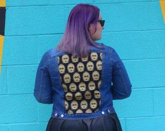 Star Wars Jacket Women's L - Stay Golden C-3PO Upcycled Denim Jacket