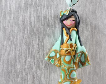 Necklace with pendant Doll - Collection Kimono - Isuzu - turquoise, jade, gold