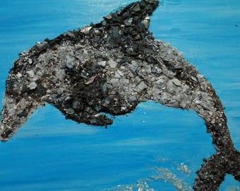 "Playful Dolphin Shell Art | Free Shipping | 8"" X 10"""