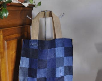Patchwork denim, burlap and flowers lining tote bag