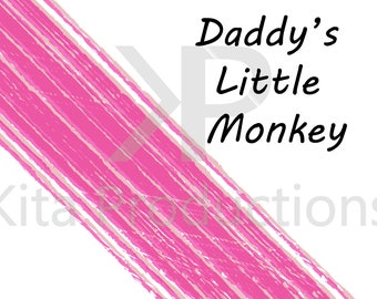 Daddy's Little Monkey Digital Artwork Print. Pink Babys room boy or girl, picture, art. A4, 6x4 print Personalised/Customisable baby shower