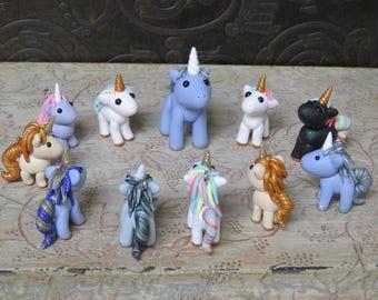 Custom tiny polymer clay unicorn