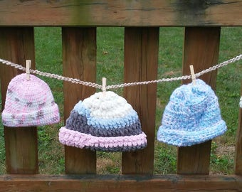 Crocheted baby beanies